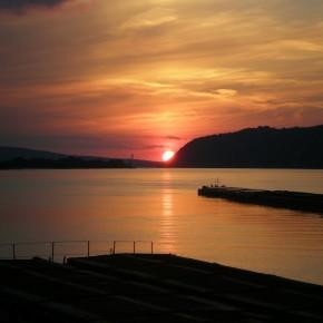 река Дунай заход солнца